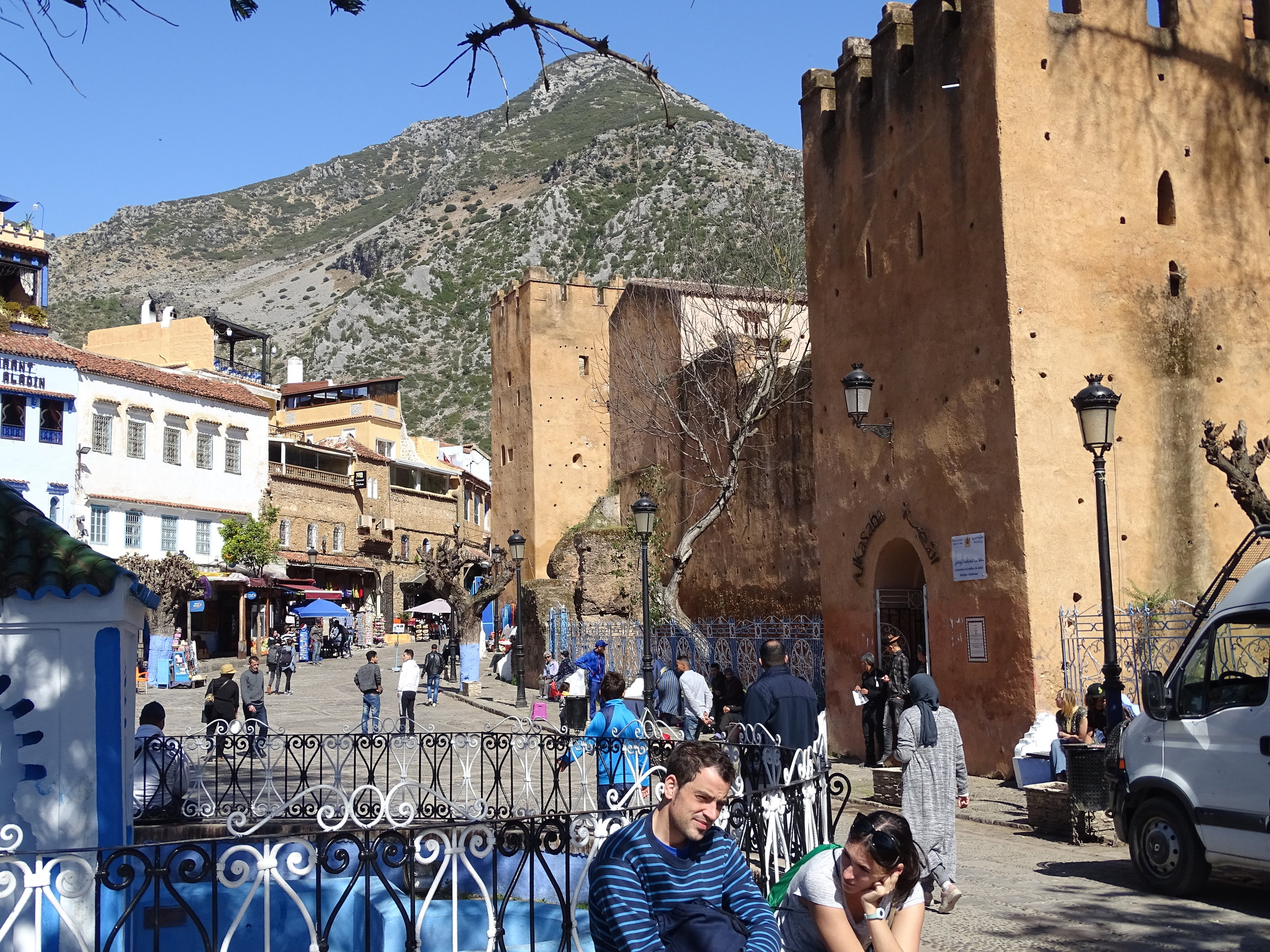 looking out of the medina - the Rif Mountains in the background and the old Kasbah on the right