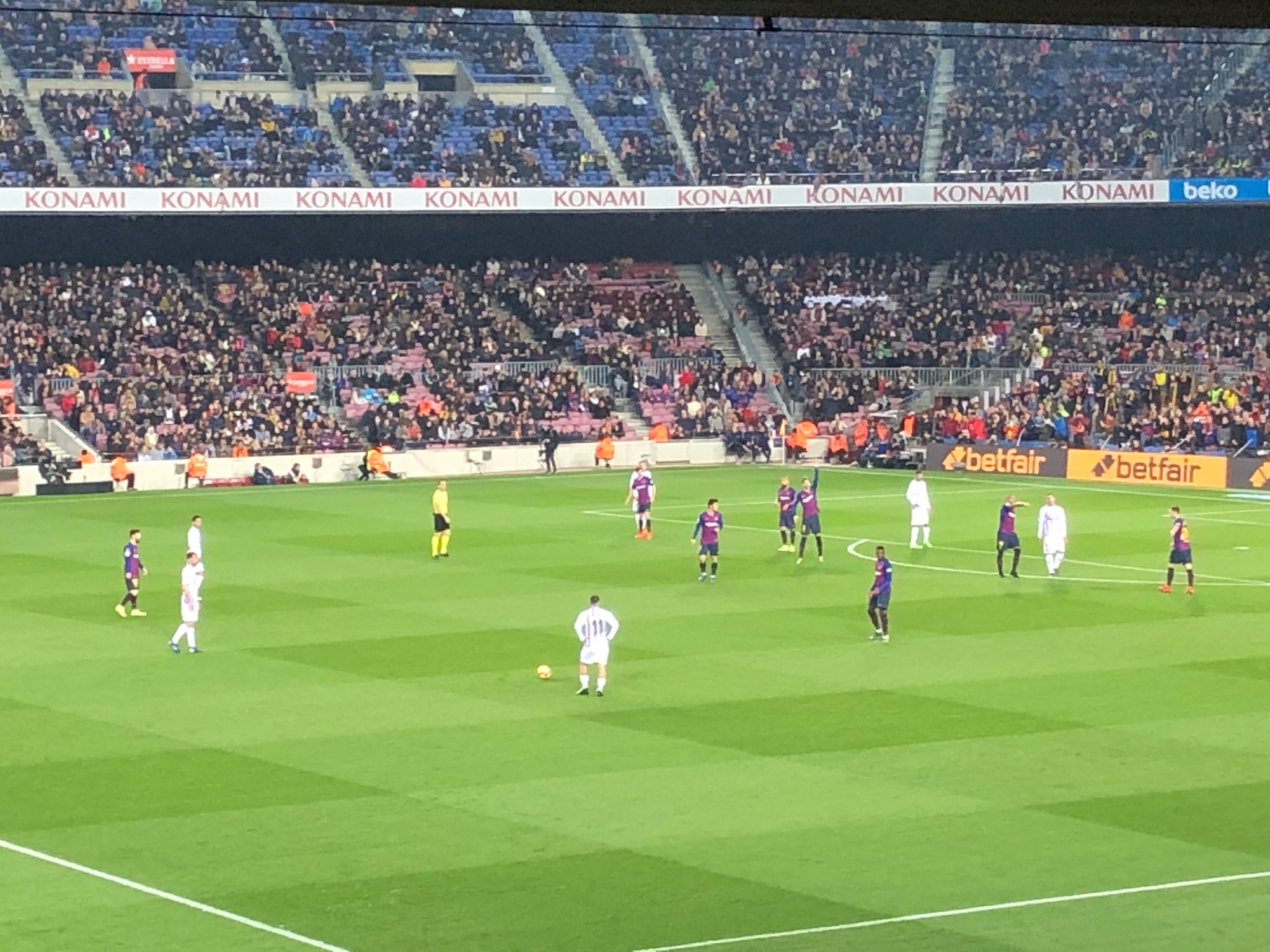 A photo from our awesome seats at the game- Messi on the left side of the photo.