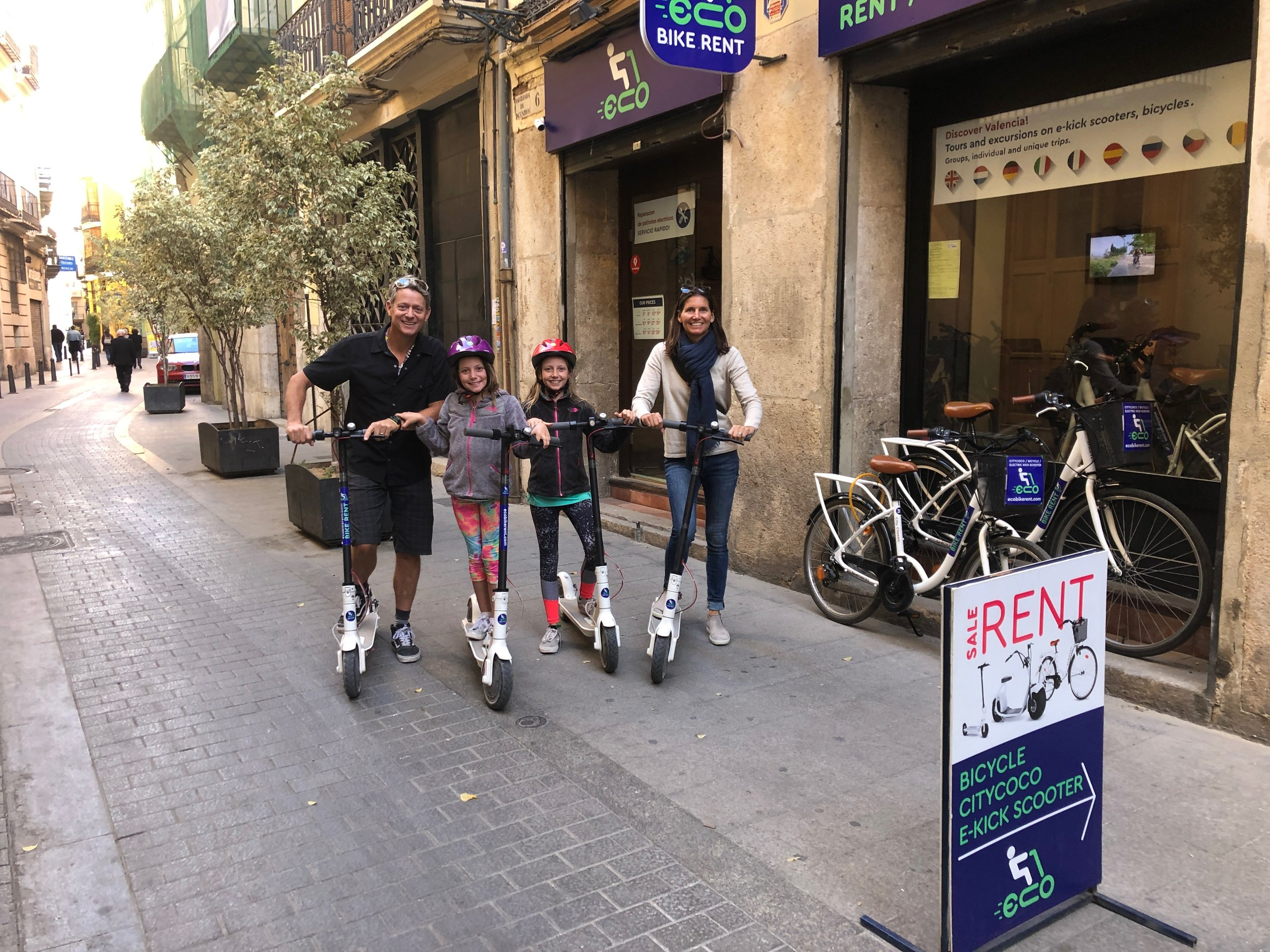Getting ready to ride our scooters