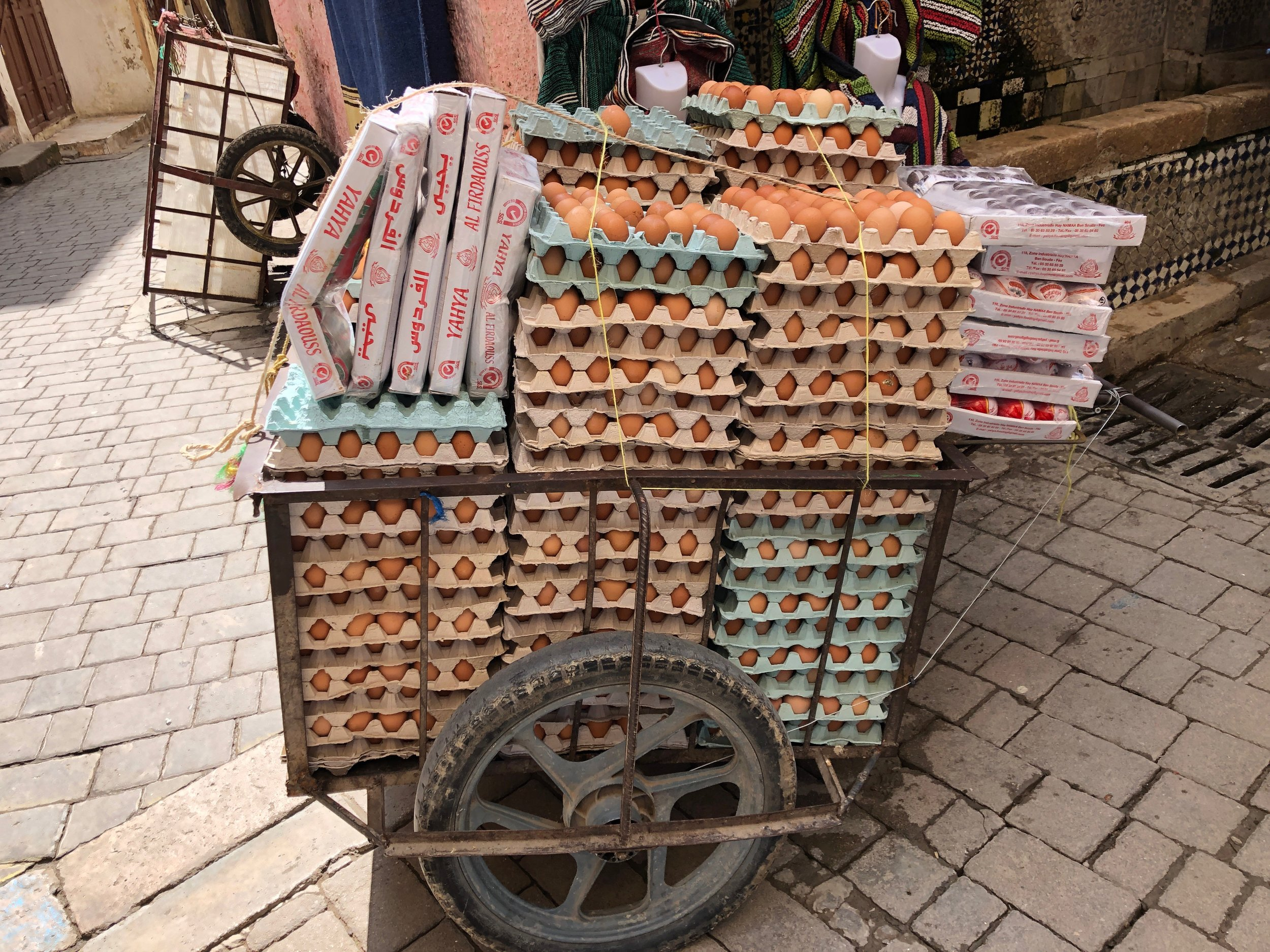 Eggs being delivered in the medina
