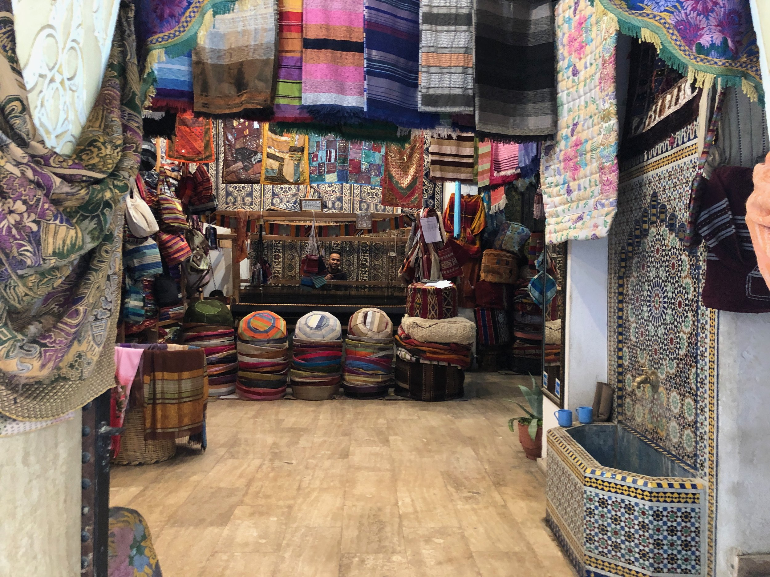 Textiles are everywhere in the medina