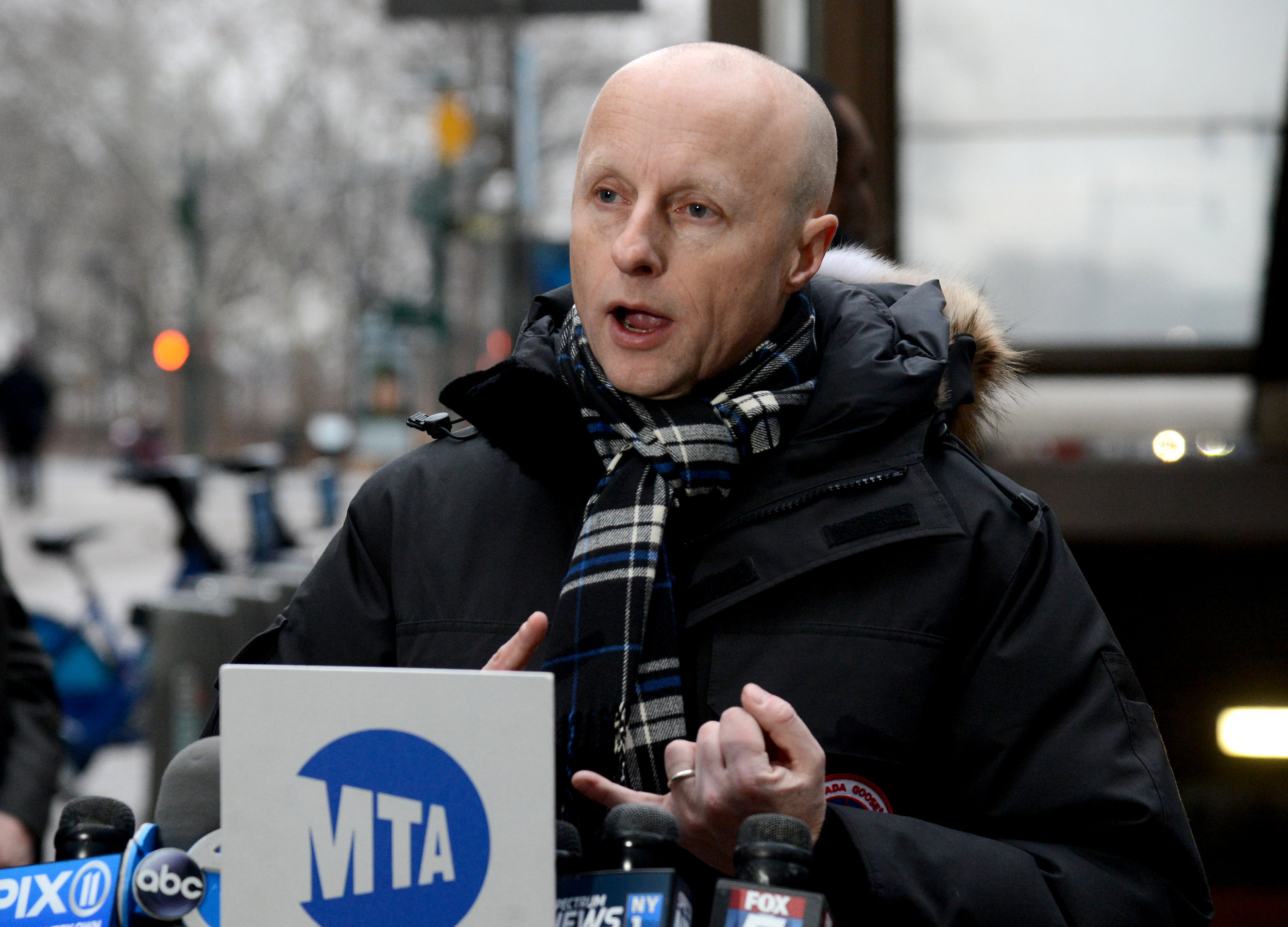 Photo of New York City Transit Authority President Andy Byford speaking at a podium