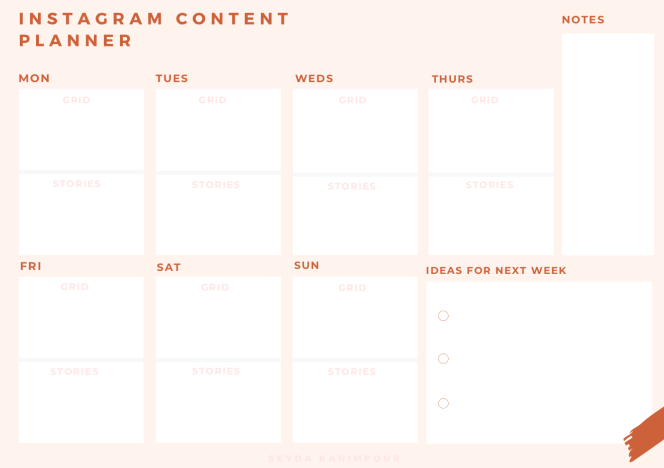 INSTAGRAM CONTENT PLANNER - I find it so helpful to plan out my IG posts for the week ahead so I created this one to use for myself and for clients. I personally prefer pen to paper but you can fill in the planner digitally or you can print out a month's worth and staple them together!
