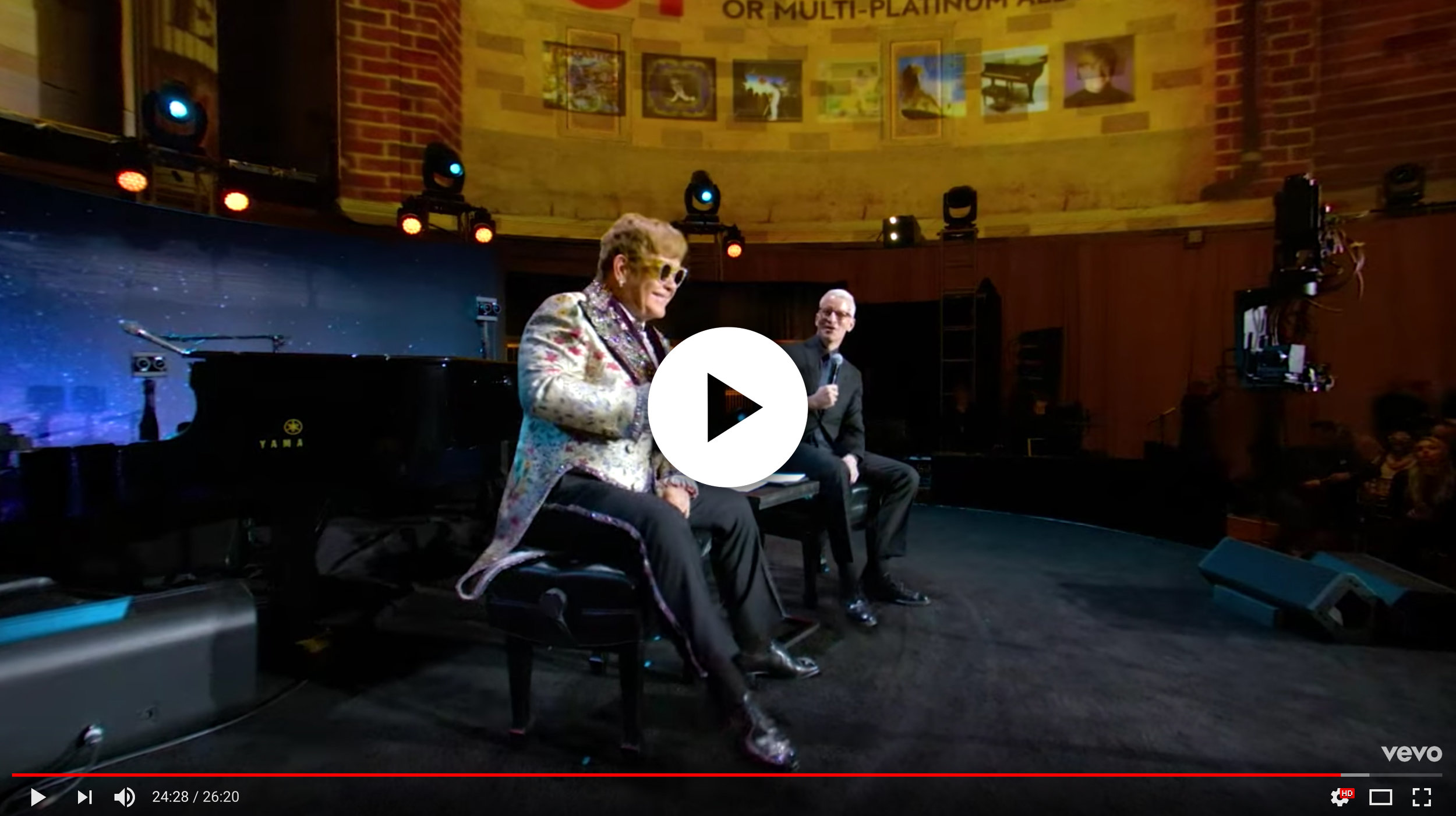 Elton John launched his Farewell Yellow Brick Road tour at Gotham Hall, which featured an immersive VR experience and a conversation with CNN's Anderson Cooper.