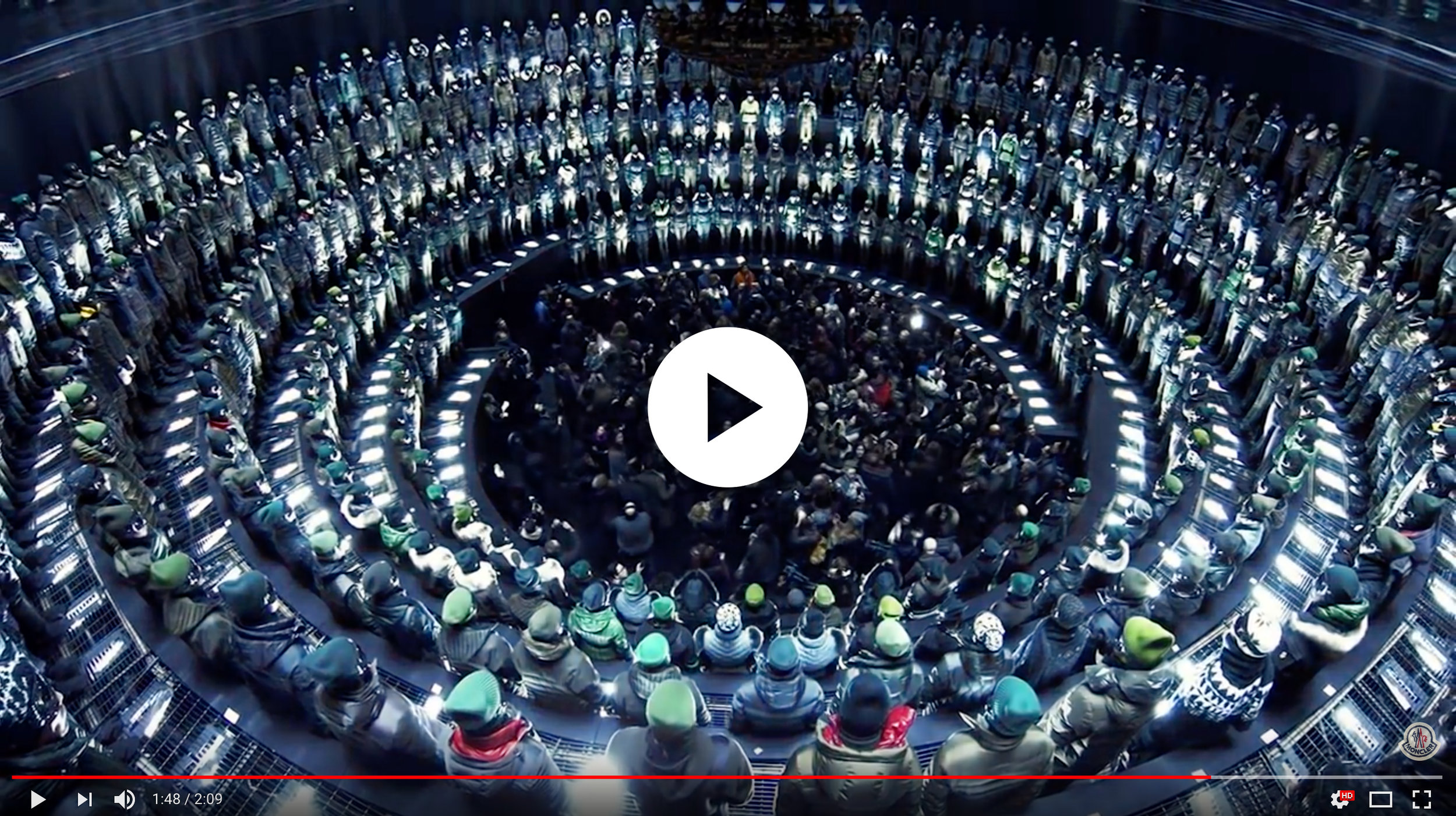 Gotham Hall was the location for the Fall 2013 Moncler Grenoble presentation during New York Fashion Week. The elaborate show featured 370 models arranged in five tiers encircling the room, and featured a giant, kaleidoscopic mirror suspended from the ceiling.