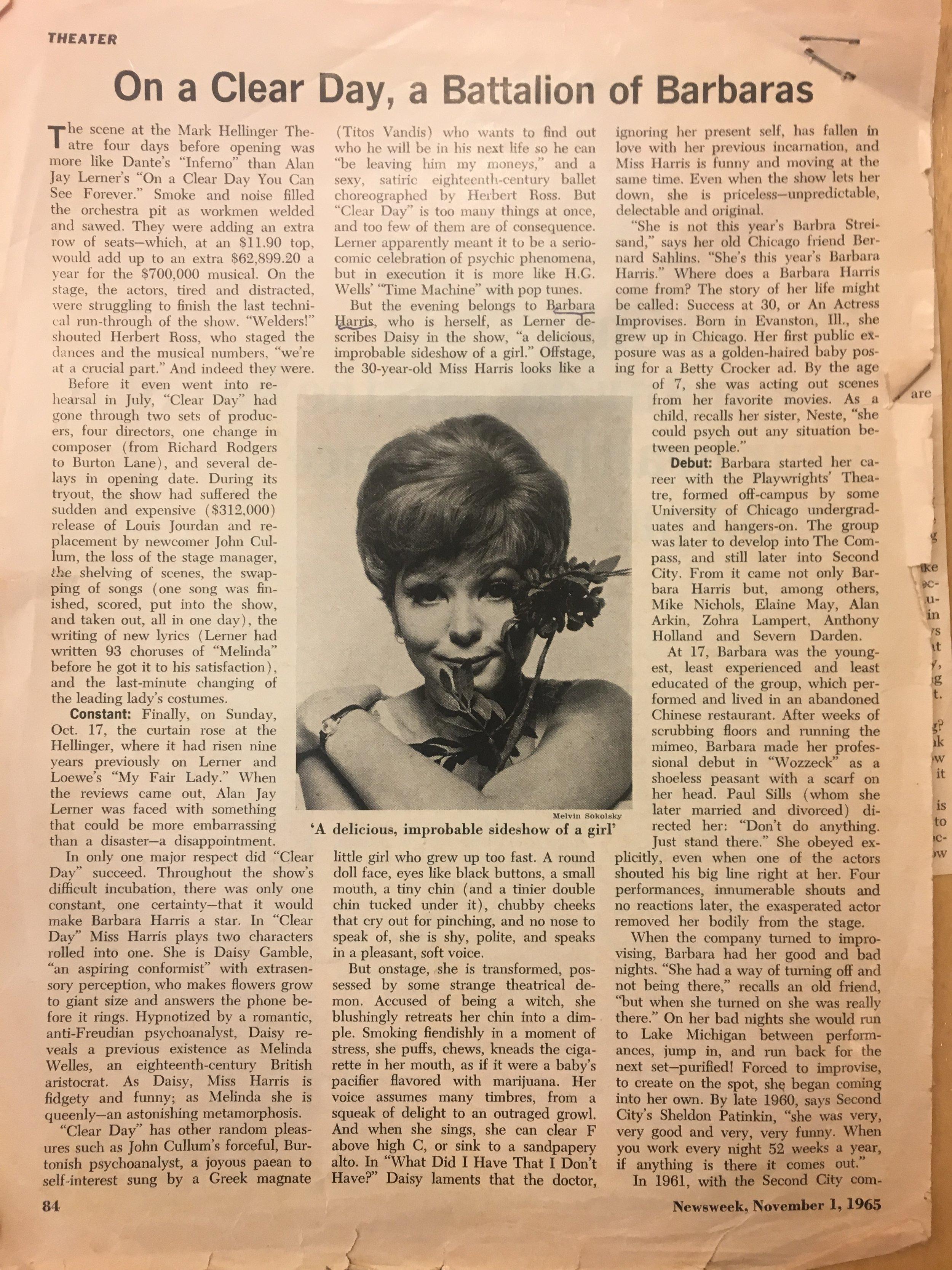 1965 On a Clear Day Newsweek Pg1.JPG