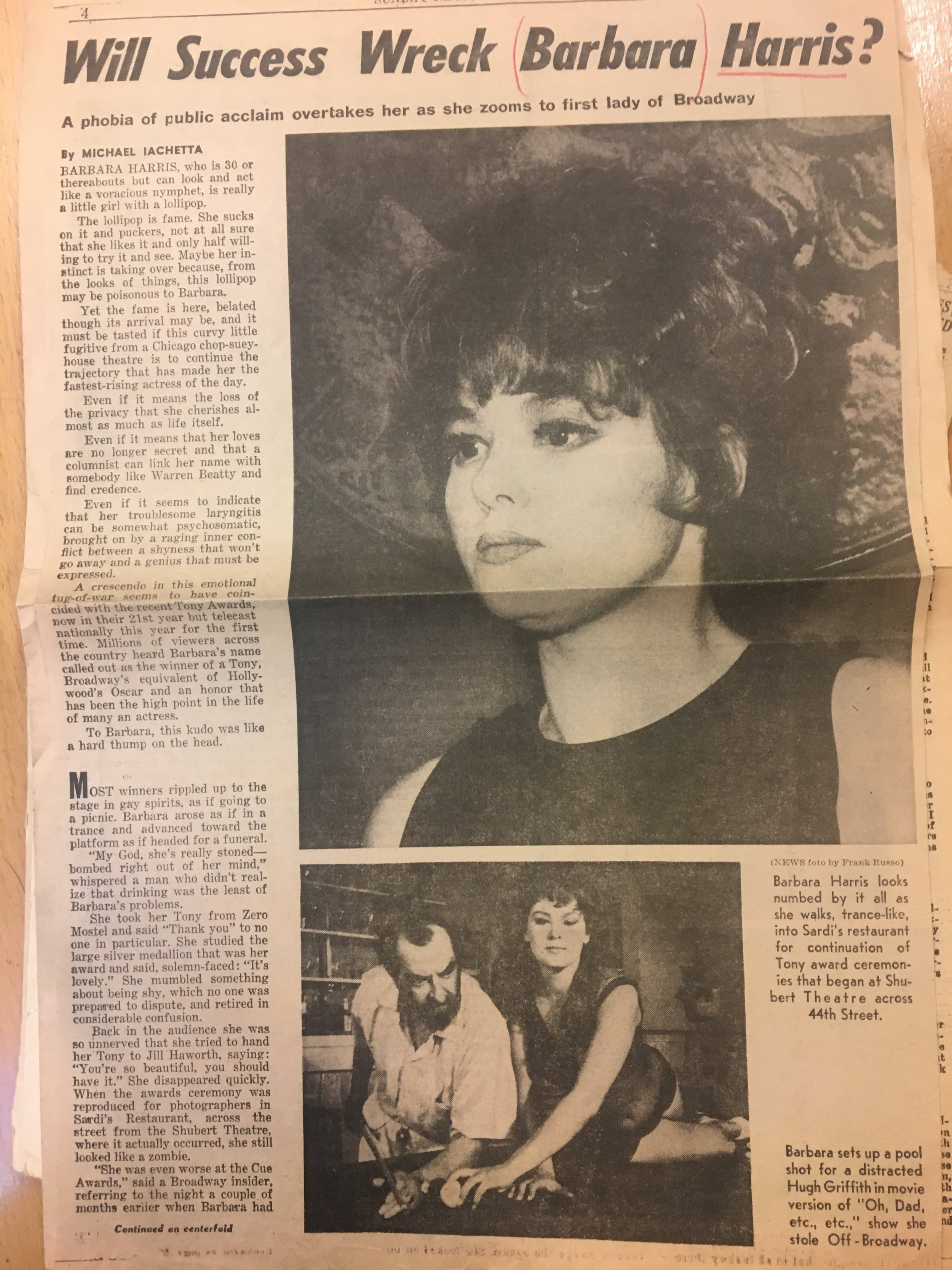 1967 Apple Tree Tony Award critique Pg1.JPG