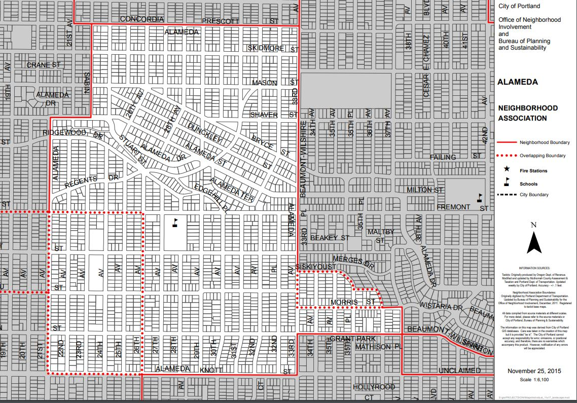 Where are Alameda's Boundaries? - Alameda is located in inner NE between the Beaumont and Hollywood neighborhoods. Alameda sits South of Prescott, North of Knott, West of 33rd Avenue and East of 24th Ave
