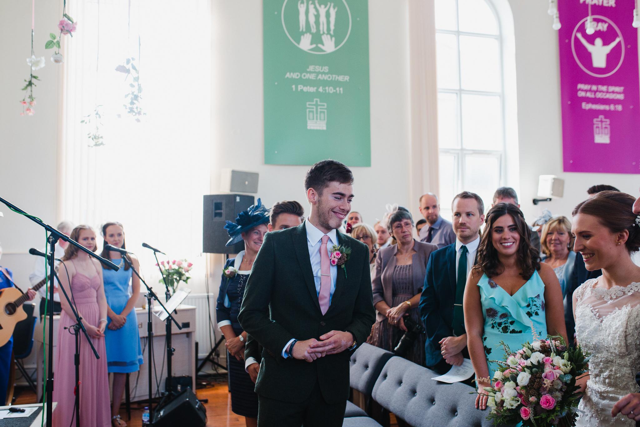 Jess and Ben - Liverpool wedding - ben waiting for his bride