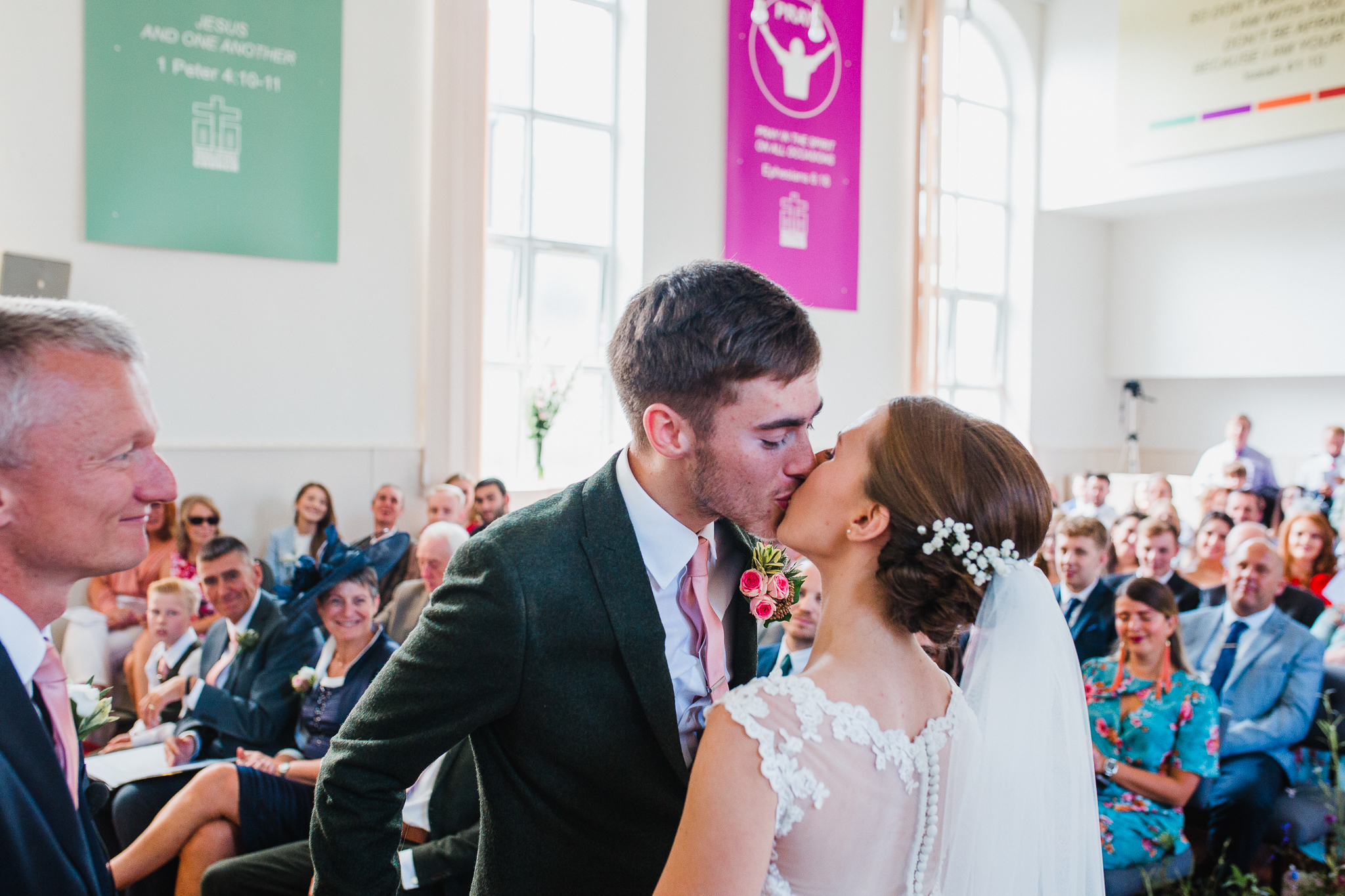 Jess and Ben - Liverpool wedding - bride and groom first kiss