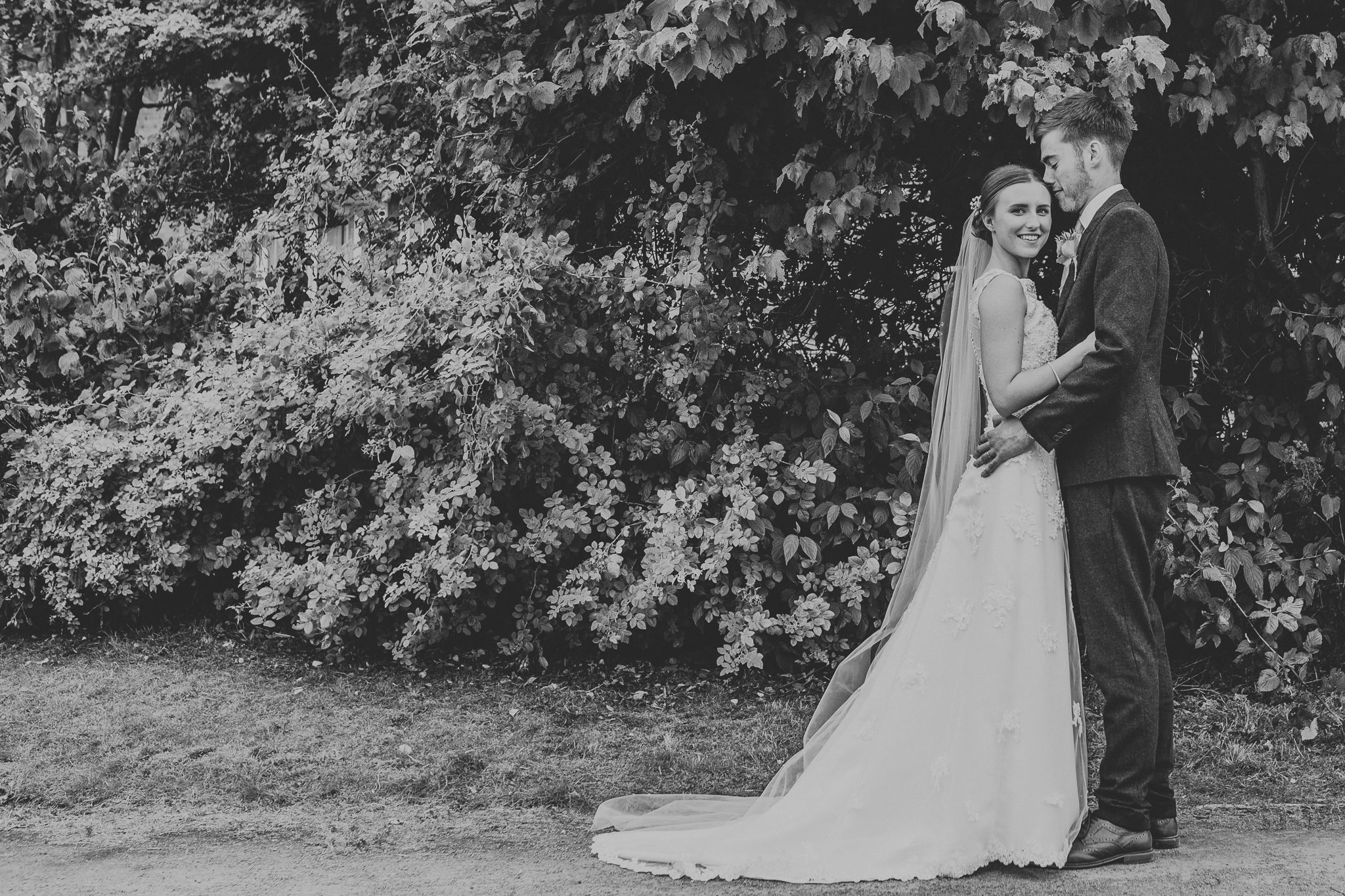 Jess and Ben - Liverpool wedding - black and white, bride and groom portrait