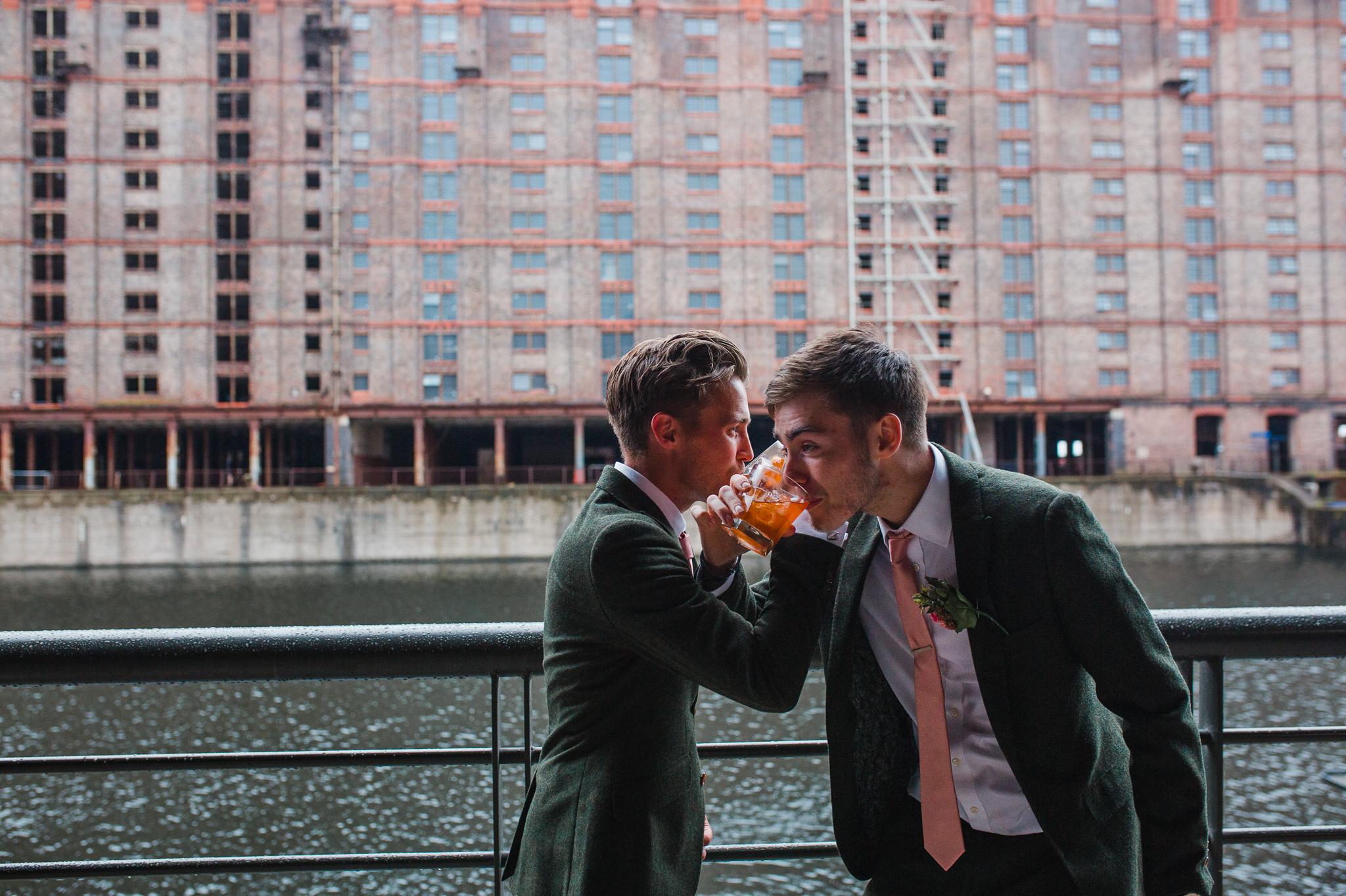 Jess and Ben - Liverpool wedding - best man and groom