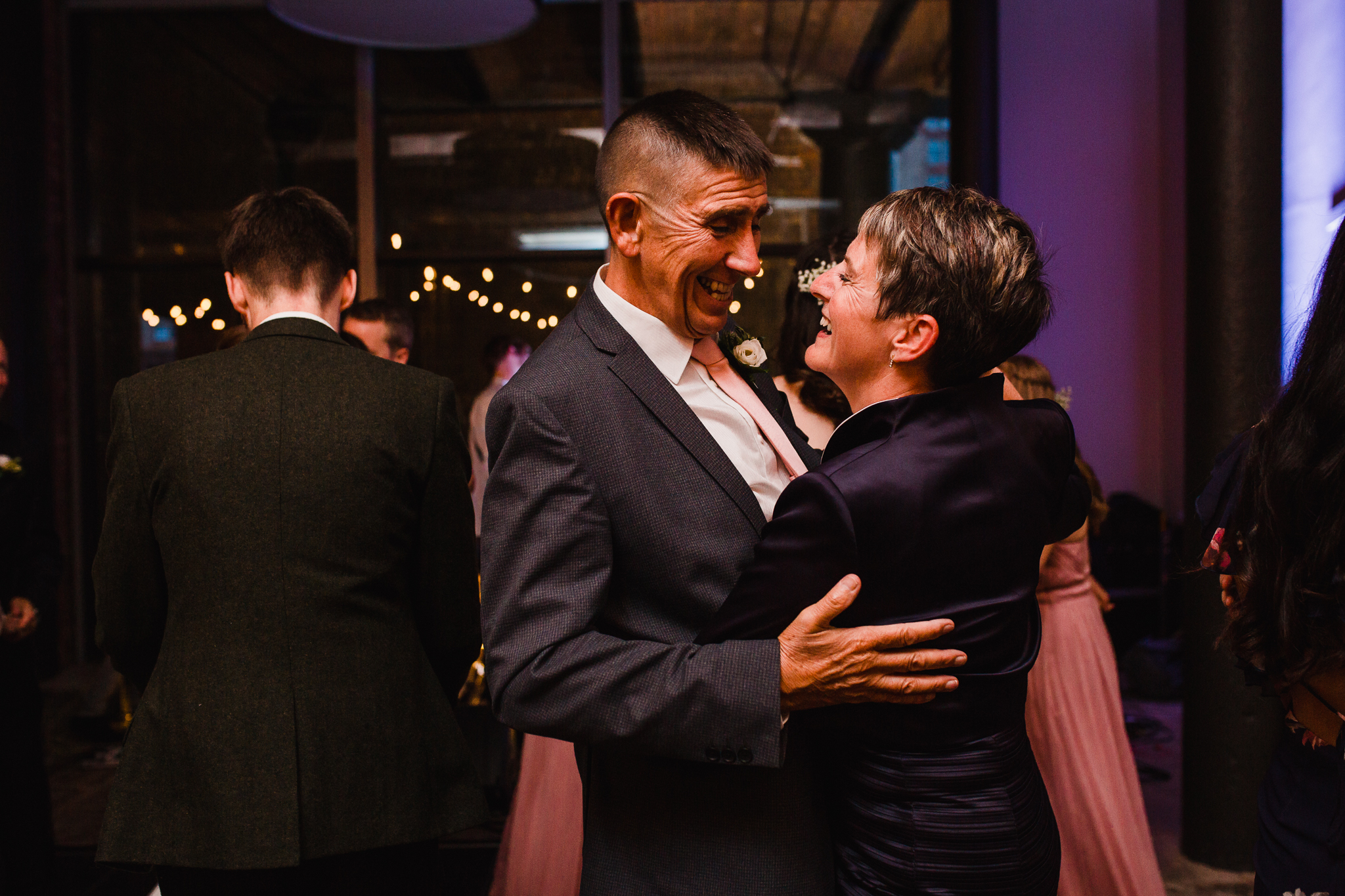 Jess and Ben - Liverpool wedding - mother and father of the groom dancing