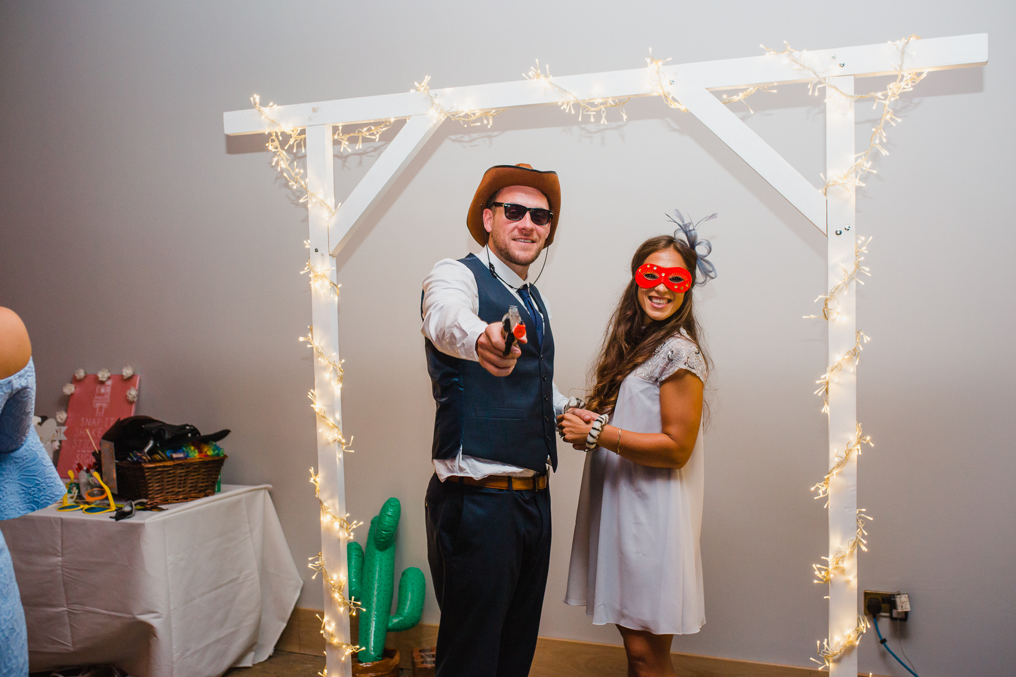 Jess and Ben - Liverpool wedding - wedding guests at the Photo Booth