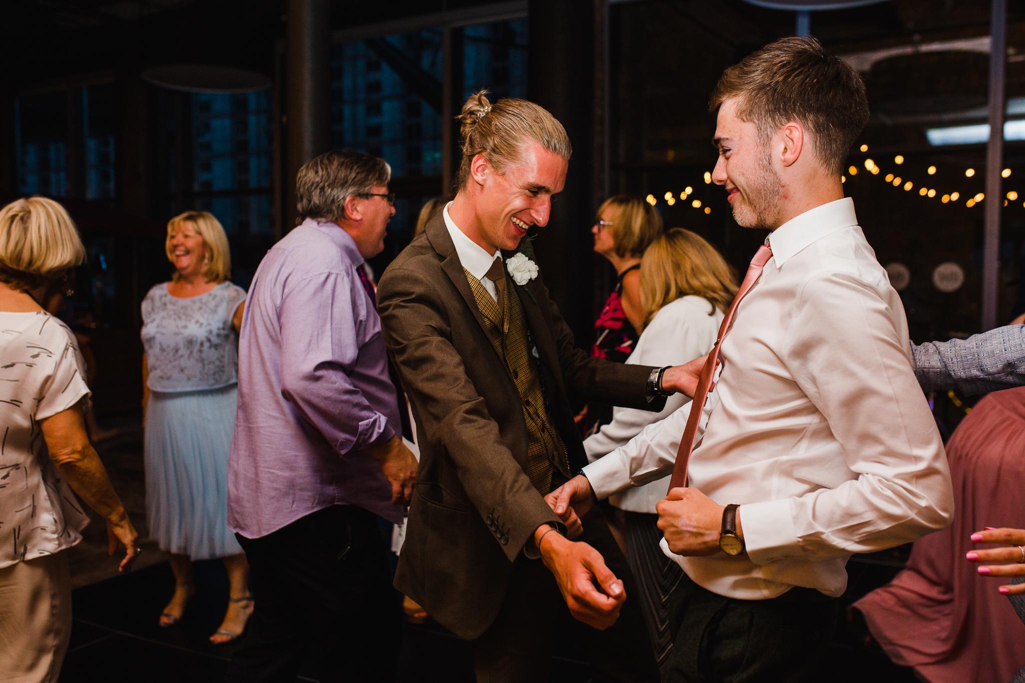 Jess and Ben - Liverpool wedding - groom dancing