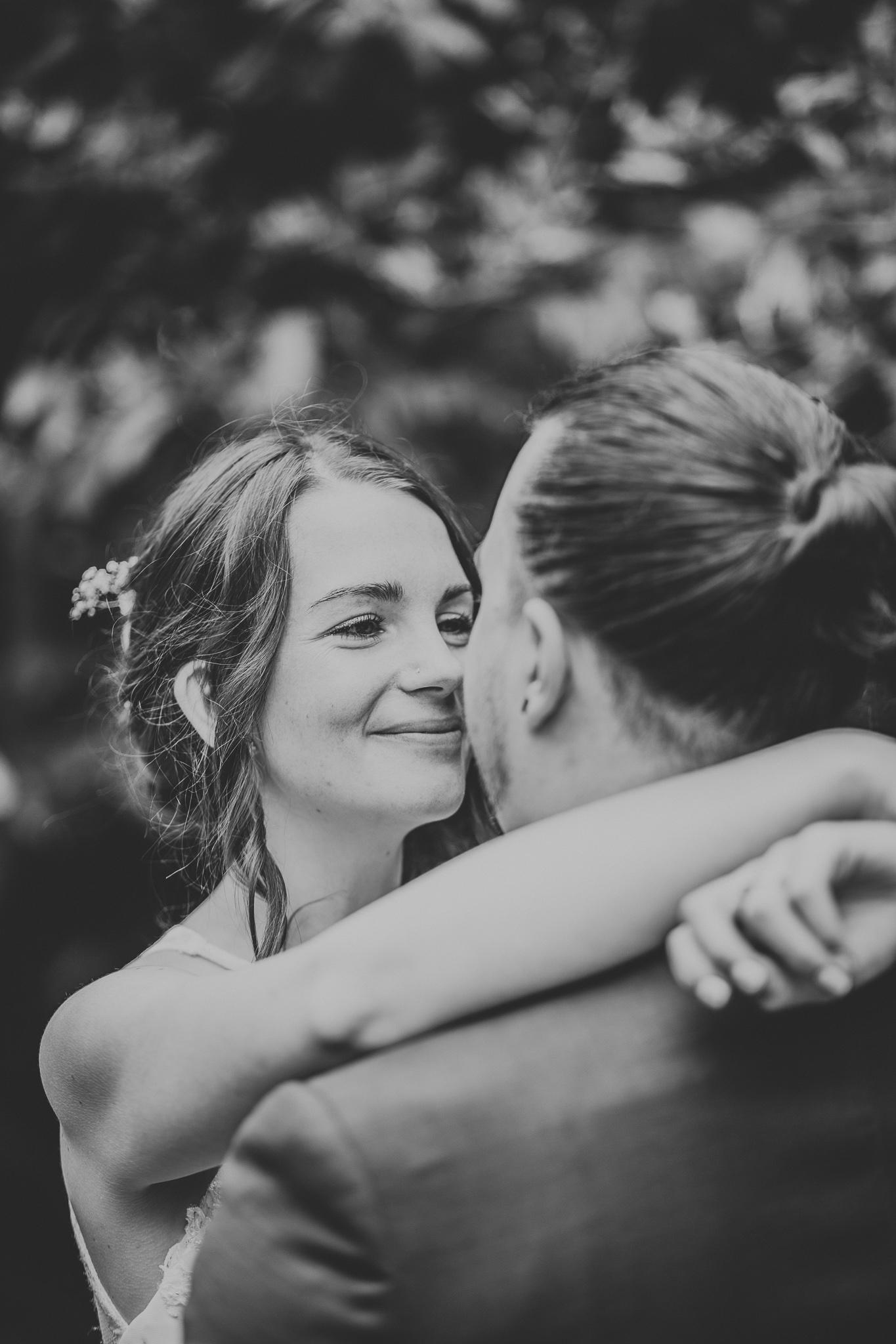 bride close up black and white portrait