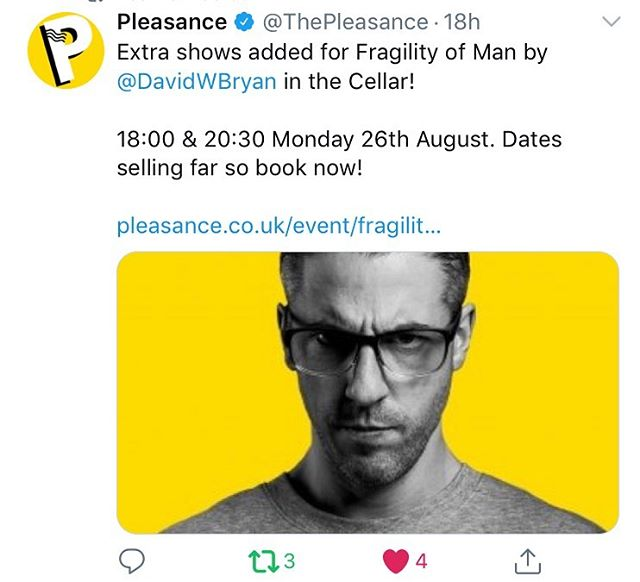 Due to excessive demand, we've just added extra dates for my new play #FragilityofMan at Edinburgh Fringe. The show is now totally sold out until the 24th, so bag your tickets quick if you fancy it😊👍🏼 massive thanks for the overwhelming response folks. I really really appreciate it 😊🙏🏼 . . #edfringe #edfringe2019 #makeyourfringe #edfringe19 #edinburghfringe #edinburgh #edinburghfringefestival #edinburghfestivalfringe #theatre #actor