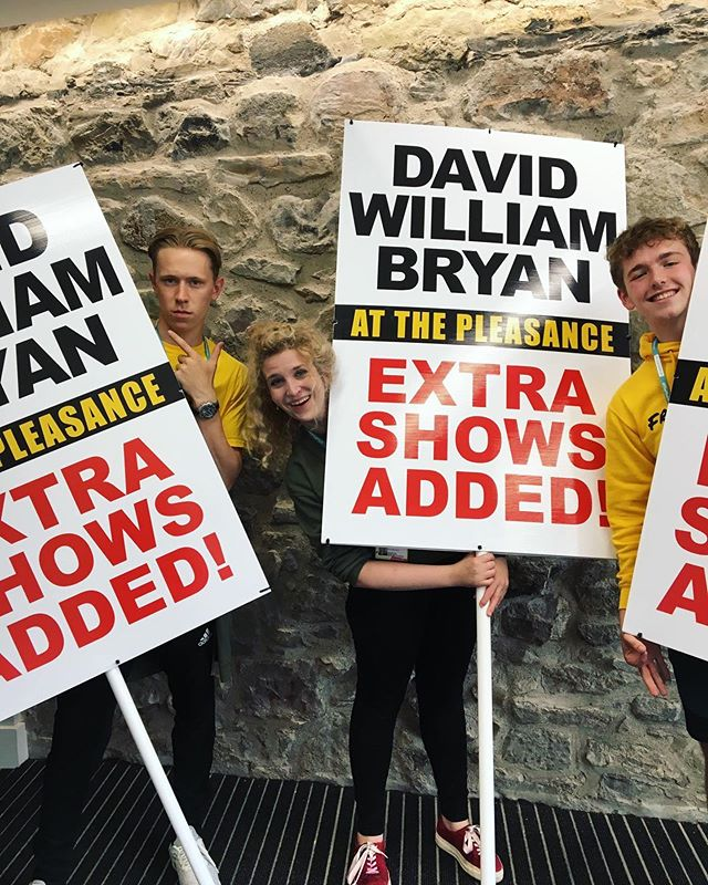 My lovely team getting the word out about my extra Edinburgh Fringe shows at the @thepleasance . Added due to excessive demand.👍🏼 . Additional performances for #FragilityofMan are on sale now for August 26th at 6pm & 8.30pm. See you there 😊👍🏼 . . #edfringe #edfringe2019 #makeyourfringe #edfringe19 #edinburghfringe #edinburgh #edinburghfringefestival #edinburghfestivalfringe #theatre #actor . . Featured models: . . @alice_v_gold  @tomcforeman  @maxrace_