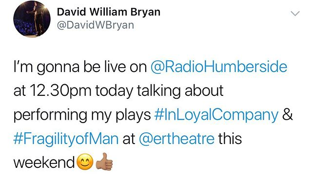Gonna be live on BBC Radio Humberside rabbiting on about my plays if you're bored at 12.30pm 😊👍🏽 . . #actor #radio #radiohumberside #hull #theatre #eastridingtheatre @ertheatre #hullarts #hullcityofculture #kingstonuponhull #hullofacity #onehullofacity #beverley #beverleyarts #beverleyeastyorkshire #theatrelife #arts #eastriding #eastyorkshire