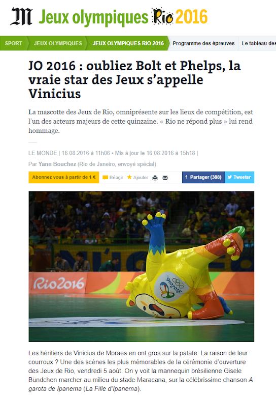 """""""Forget Bolt and Phelps, the true star of the Games is called Vinicius"""" - Le Monde"""