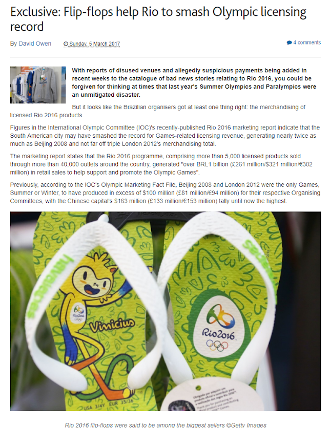 """""""Flip Flops help Rio smash Olympic licensing record"""" - Inside the Games"""