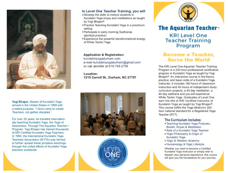 Level 1 Teacher Training with Keval Kaur Khalsa beginning May 2019