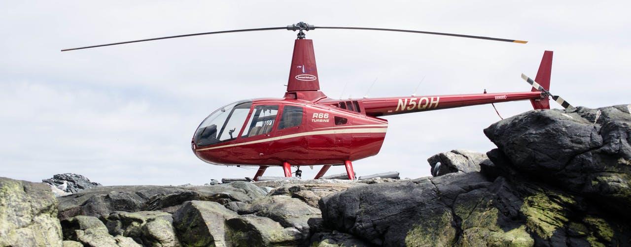 Seacoast Helicopter Portland on rocky coast