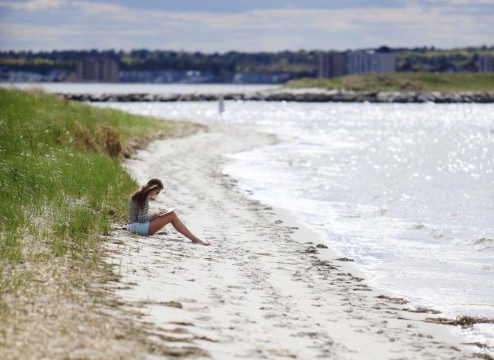 person sitting on sandy beach near dune grass