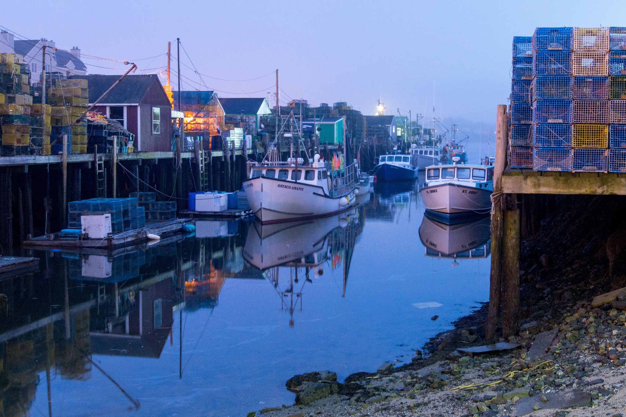 portland wharf with boats and lobster traps