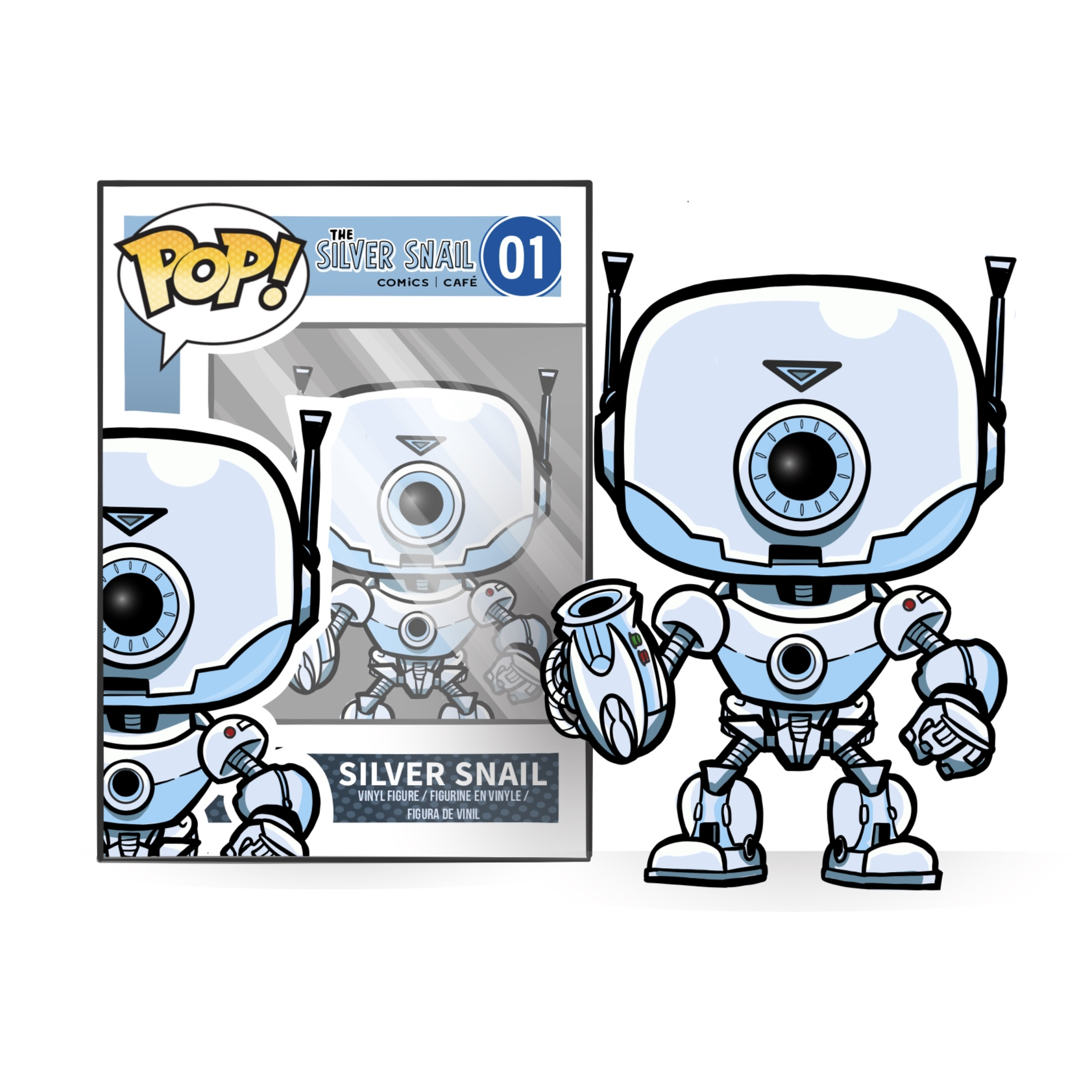 - F U N K O   P O P   V I N Y L   F I G U R EThis custom pop figure is an exciting edition to the Silver Snail's own merchandise. The popular vinyl figures will draw attention to fans and allow the Silver Snail to mingle with their target audience on a personal level.