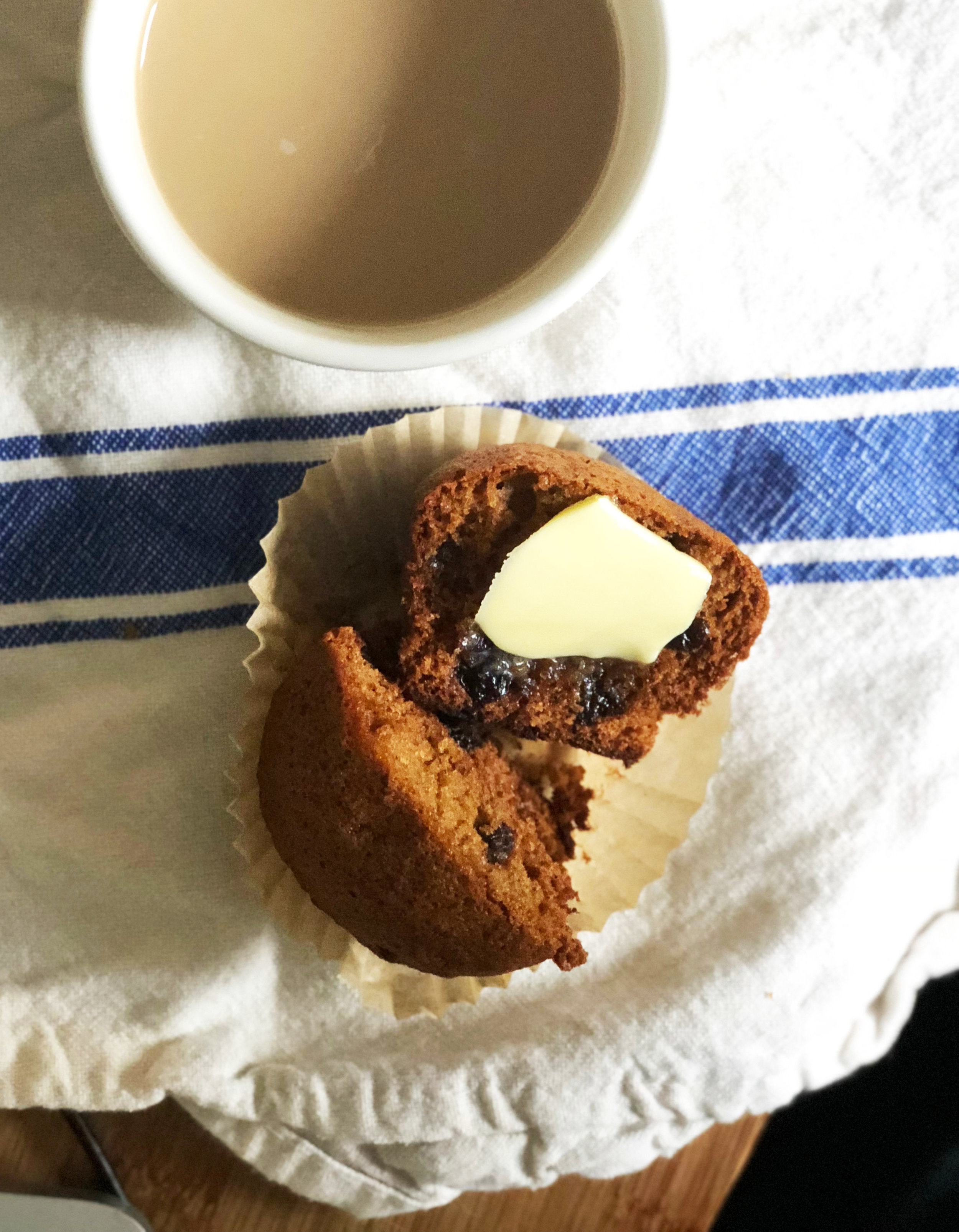 Honey BombsAdapted from COPENHAGEN FOOD - Wet:1/2 cup (150 g) honey3/4 c (150 g) brown sugar2/3 c (150 g) unsalted butterDry:2 1/4 c (300 g) all-purpose flour2 t baking soda4 t cinnamon3 t ground cloves3 large eggs7 ounces (200 g) mixed peel or dried fruits )optional); such as apricots, cherries, currants; chopped if necessary1. Line two muffin tins with paper liners—I needed 16—and preheat oven to 350°2. In a saucepan melt together the honey, brown sugar, and butter. Once all cohesive, pour into a large mixing bowl and set aside to cool to blood warm. 3. Sift together the dry ingredients while the butter mix cools.4. Once blood warm, whisk in the eggs, one at a time, then whisk in the dry ingredients until thoroughly incorporated. Fold in the mixed fruits. 5. Bake 18-22 minutes until the top springs back when gently pressed.6. Remove to a rack to let cool for a few minutes.7. Best served warm and smeared with salty butter.For extra credit, serve with hot coffee or black tea and cardamon milk (1/2 tsp per cup of milk).