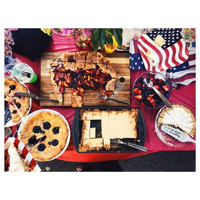 July 4th block party dessert spread! I made the Atlantic Beach Pie from @food52 (see bottom right and next pic). #julyfourth #blockparty #celebrate BUT #notcelebratingtrumpsamerica #notmypresident
