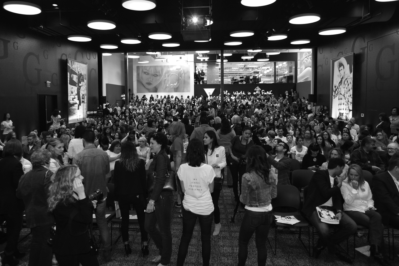 View of the atmosphere at the GUESS and Peace Over Violence celebration of the 15th anniversary of Denim Day at GUESS? Inc. Getting ready for Press Conference.
