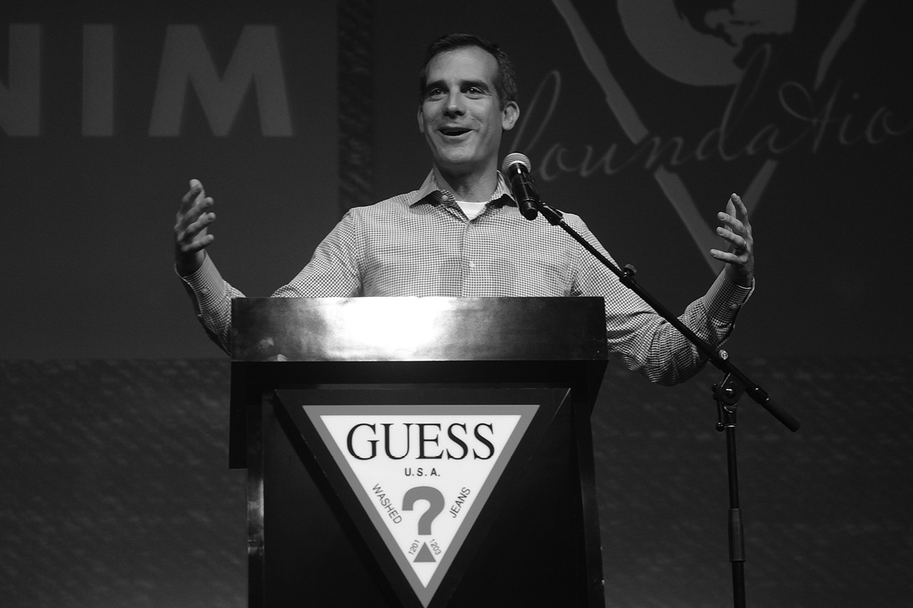 Mayor of Los Angeles Eric Garcetti speaking on Denim Day 2014 Press Conference at GUESS? Headquarters