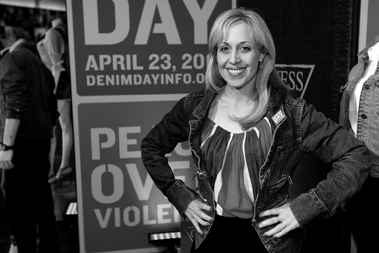 Ali MacLean supporting Peace Over Violence Denim Day 15th anniversary at GUESS? Inc. Headquarters on April 23, 2014