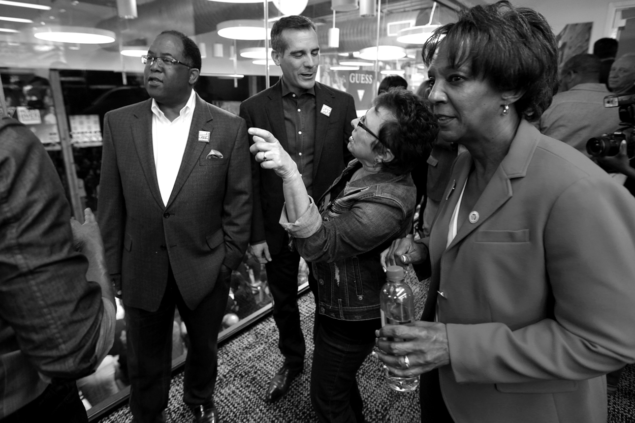 Supervisor Mark Ridley-Thomas, Mayor Eric Garcetti, Patti Giggans & District Attorney Jackie Lacey at GUESS? Inc. Headquarters on April 29, 2015 in Los Angeles, California.