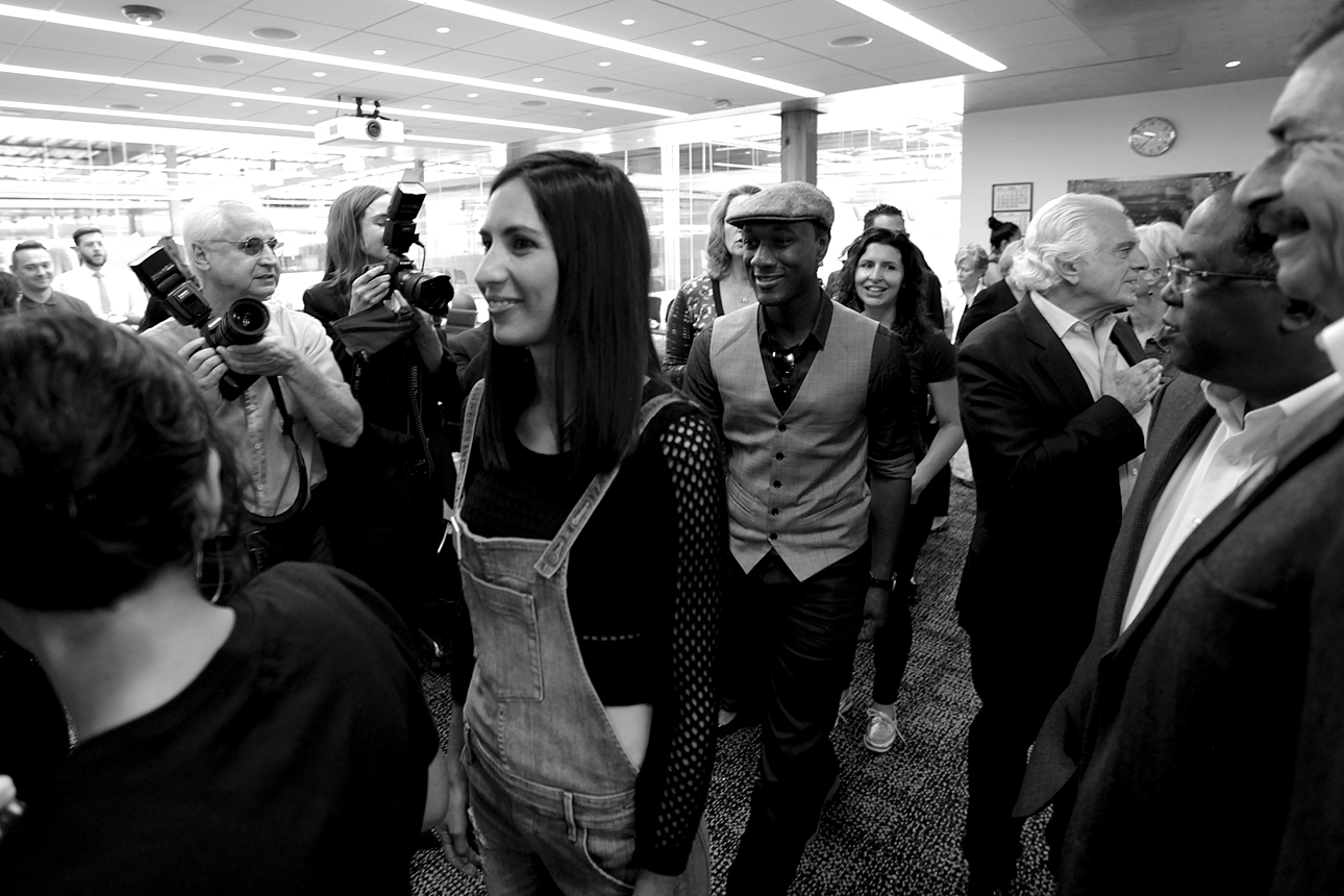 Maya Jupiter and Aloe Blacc at GUESS? Inc. Headquarters on April 29, 2015 in Los Angeles, California.