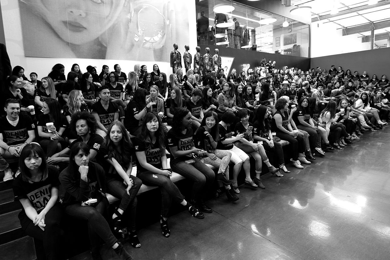 GUESS? staff and community members await for Denim Day Press Event at GUESS? Inc. Headquarters on April 29, 2015 in Los Angeles, California.