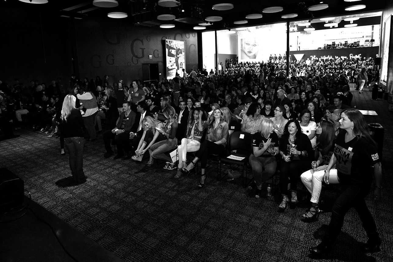 The audience at the Denim Day Press Event at GUESS? Inc. Headquarters on April 29, 2015 in Los Angeles, California.