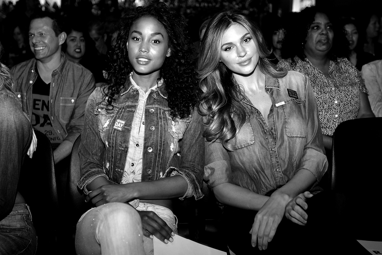 Natalie Pack and Jessica Raemy in the audience at GUESS? Inc. Headquarters on April 29, 2015 in Los Angeles, California.