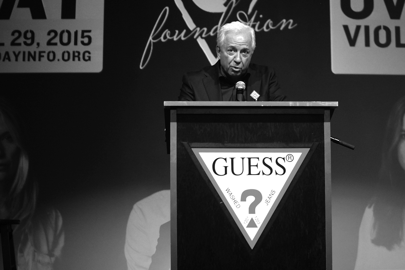 Paul Marciano addresses press and audience at GUESS? Inc. Headquarters on April 29, 2015 in Los Angeles, California.