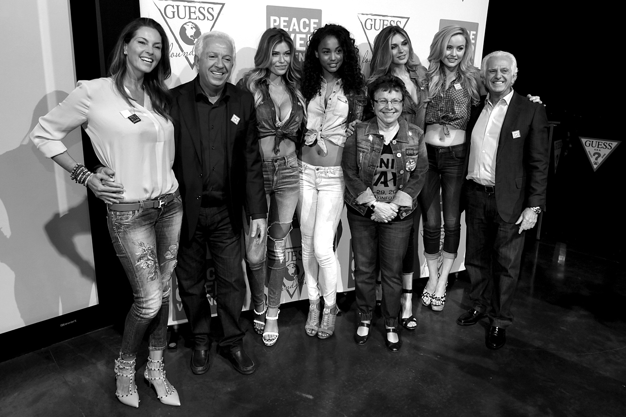 Mareva Marciano, Paul Marciano, Samantha Hoopes, Jessica Raemy, Patti Giggans, Natalie Pack, Simone Holtznagel and Maurice Marciano at GUESS? Inc. Headquarters on April 29, 2015 in Los Angeles, California.