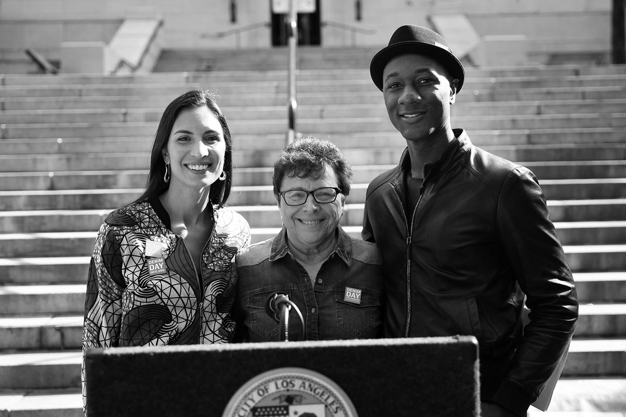 Denim Day Spokescouple, Maya Jupiter and Aloe Blacc with POV Executive Director and Denim Day Founder, Patti Giggans