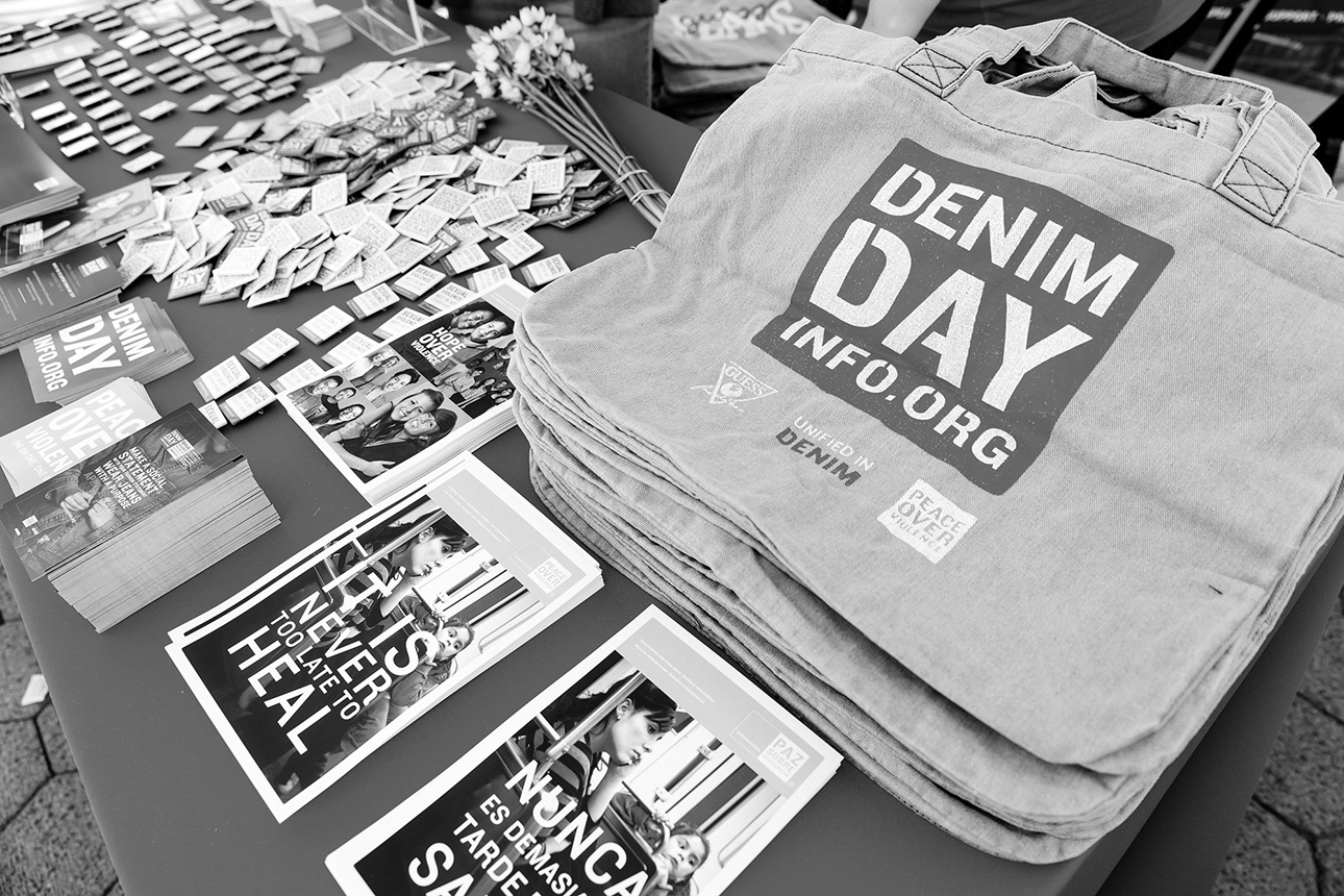 Pop-up on the Promenade, spreading the word about Denim Day and Peace Over Violence services.