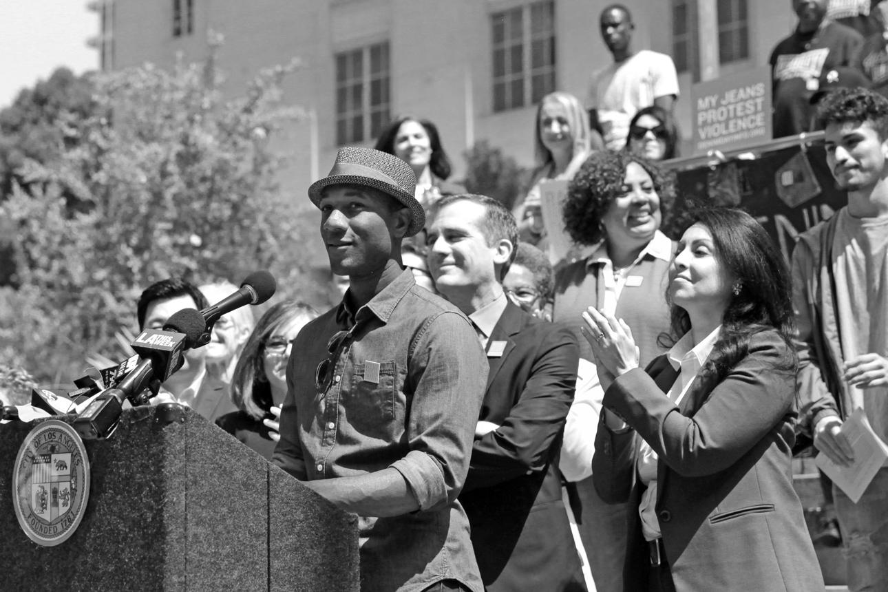 POV Spokesman Aloe Blacc speaks at the 19th Annual Denim Day at Los Angeles City Hall.