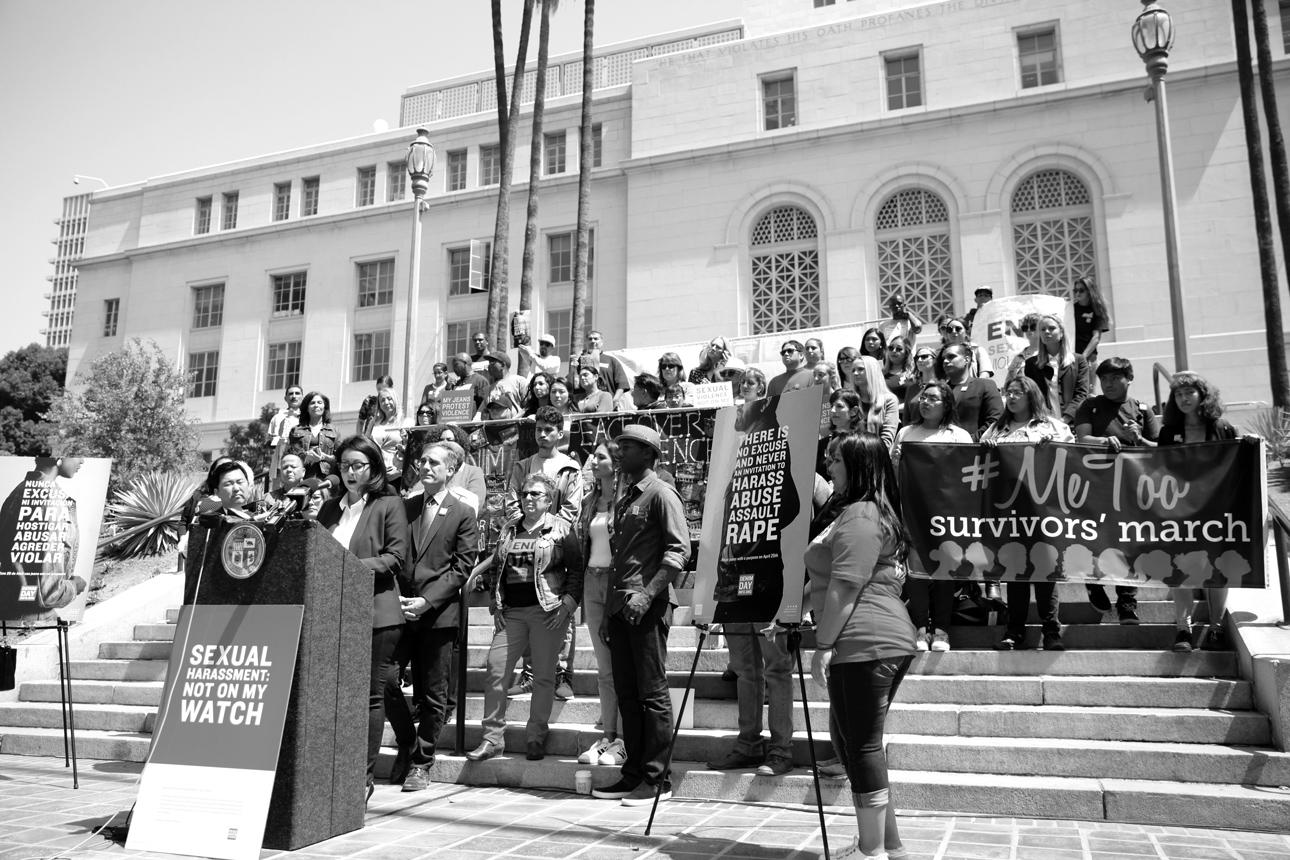 Councilwoman Nury Martinez gives her Denim Day remarks.