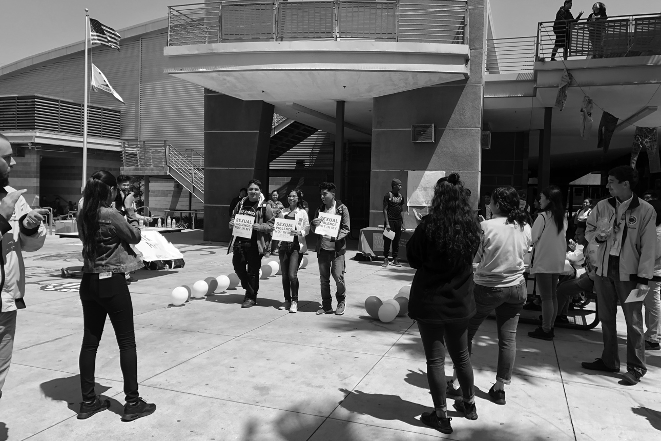 Youth leaders at Miguel Contreras Learning Complex hosted a Denim Day fashion show at lunch. Students led sexual violence awareness activities throughout the month of April.