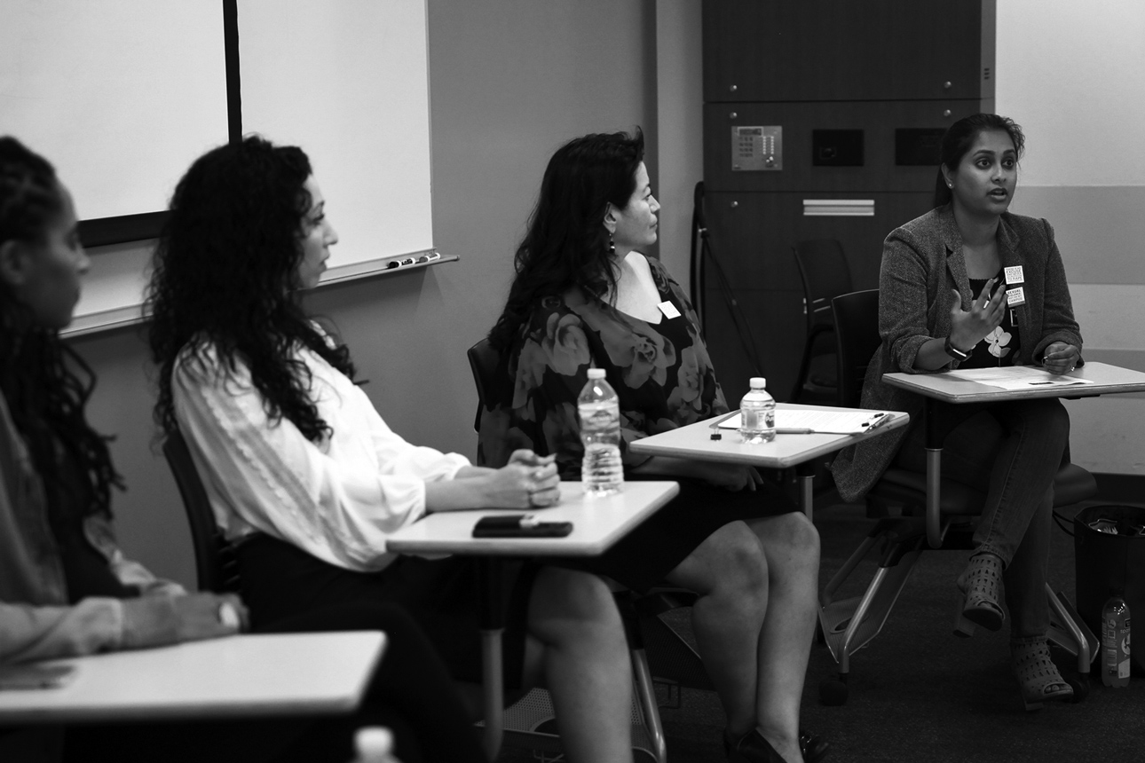 """POV Board Member Dr. Nooshin Valizadeh, Dr. Elizabeth Reyes and POV Attorney Payal Sinha, Esq. speak at """"Reclaiming Our Time: Talking and Making Space for Women of Color in Healing Sexual Trauma"""" at USC."""