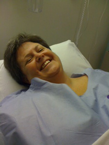 Julie on day of surgery