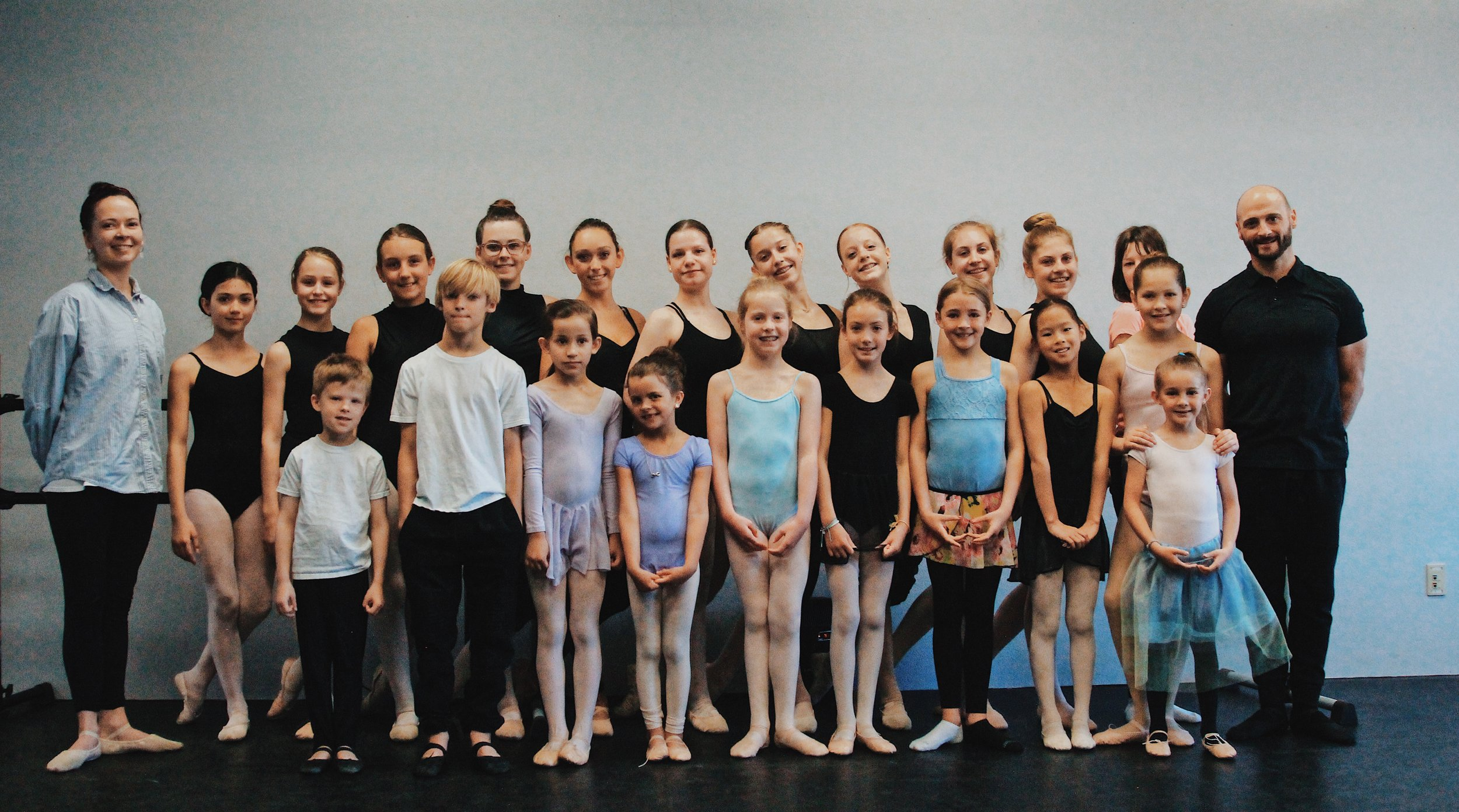 Students pose with Ms. Jordan & Mr. Jeremiah after our 2019 End of Season Ballet Exams